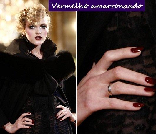 """Moda unhas: tendências para o outono inverno 2012 - vermelho """"amarronzado"""""""