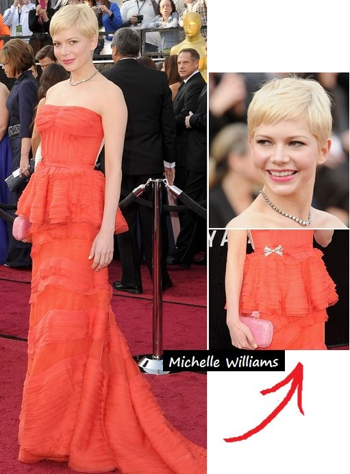 Oscar 2012: vestido coral da atriz Michelle Williams