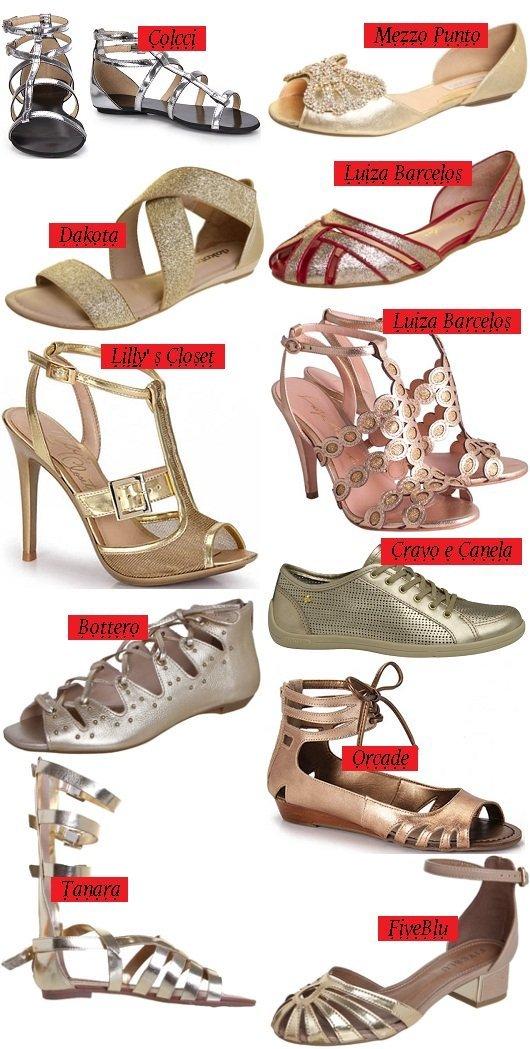 Verão 2014 - sapato prata - sapato dourado - sapato cobre